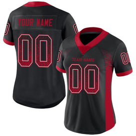 Custom Black Red-Light Gray Mesh Drift Fashion Football Jersey