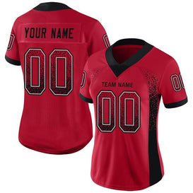 Custom Red Black-Light Gray Mesh Drift Fashion Football Jersey