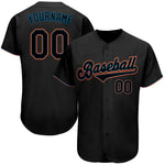 Custom Black Black-Light Blue Authentic Baseball Jersey