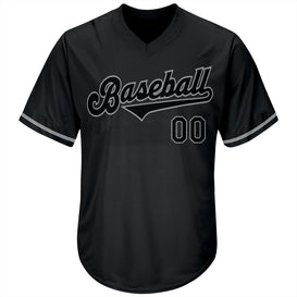 Custom Black Black-Gray Authentic Throwback Rib-Knit Baseball Jersey Shirt
