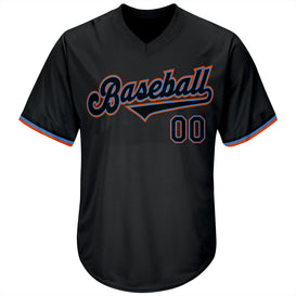 Custom Black Black-Powder Blue Authentic Throwback Rib-Knit Baseball Jersey Shirt