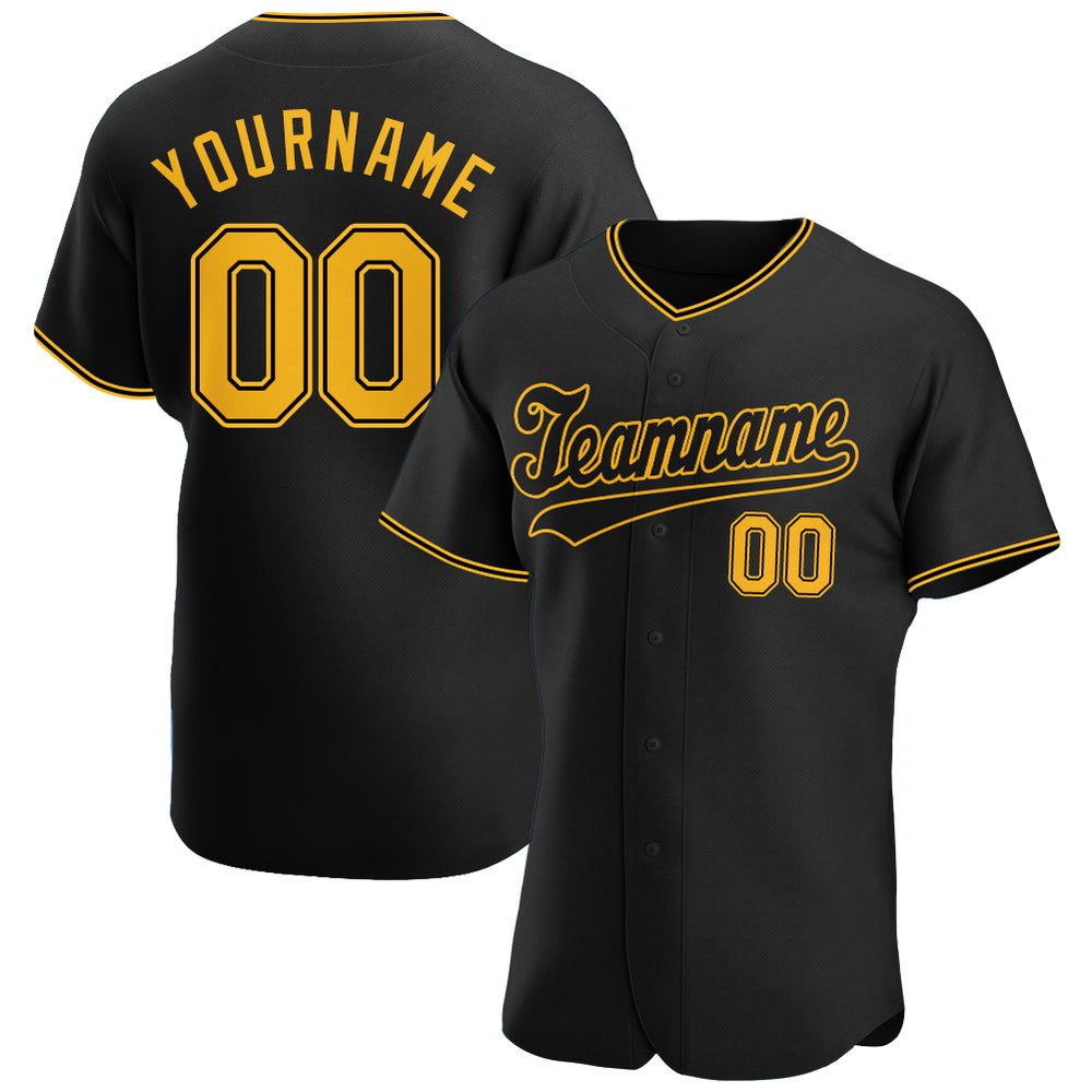 Custom Black Gold-Black Authentic Baseball Jersey