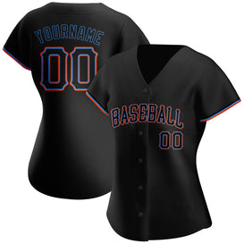 Custom Black Black-Powder Blue Authentic Baseball Jersey
