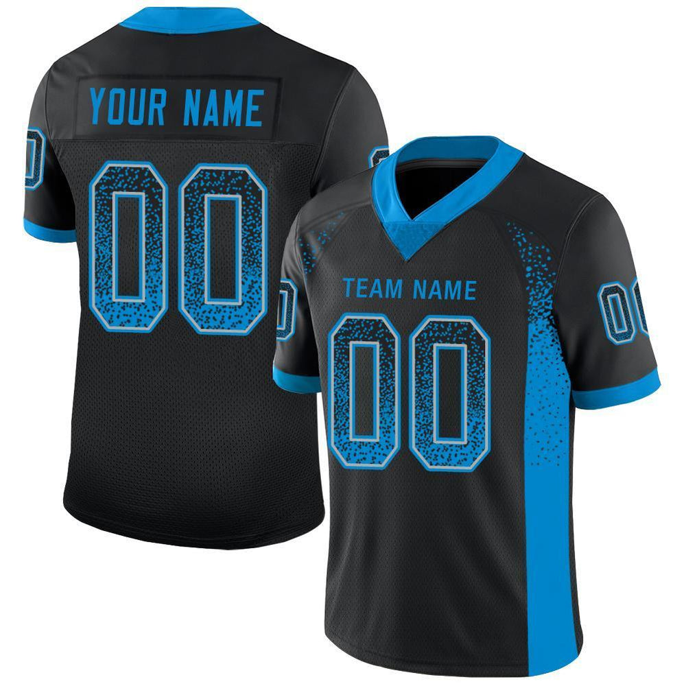 Custom Black Panther Blue-Light Gray Mesh Drift Fashion Football Jersey