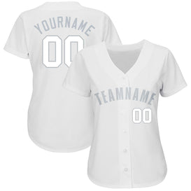 Custom White Gray Baseball Jersey