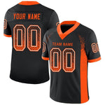 Custom Black Orange-White Mesh Drift Fashion Football Jersey