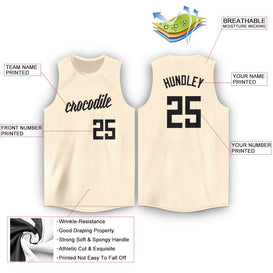 Custom Cream Black Round Neck Basketball Jersey