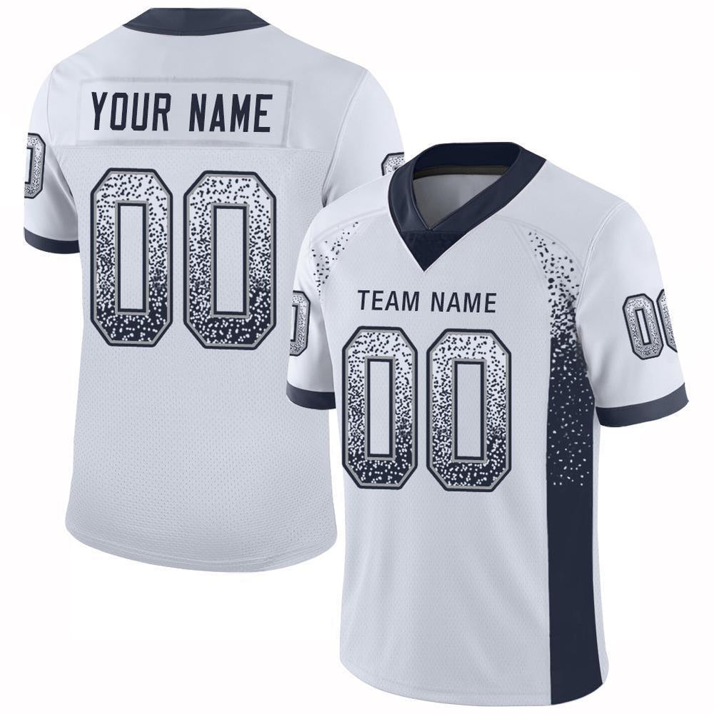 Custom White Navy-Light Gray Mesh Drift Fashion Football Jersey