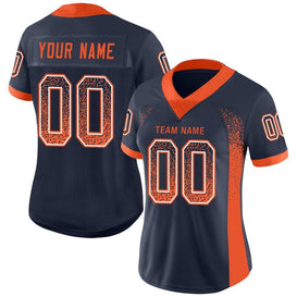 Custom Navy Orange-White Mesh Drift Fashion Football Jersey