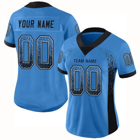 Custom Powder Blue Black-Light Gray Mesh Drift Fashion Football Jersey