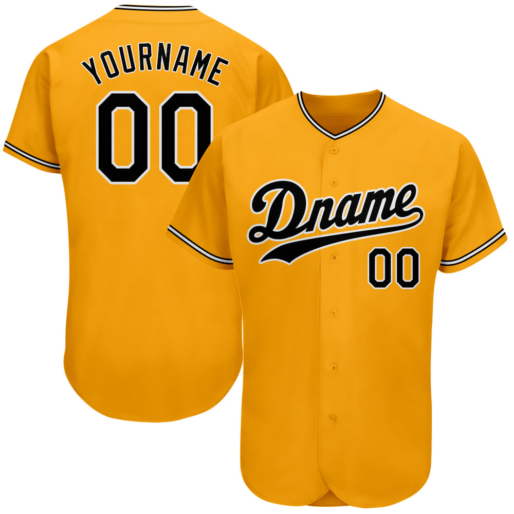 Custom Gold Black-White Authentic Baseball Jersey