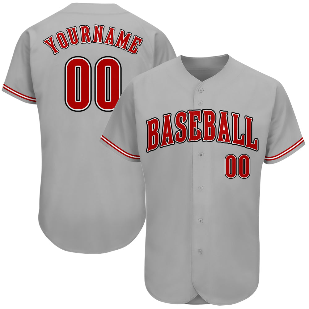 Custom Gray Red-Black Authentic Baseball Jersey