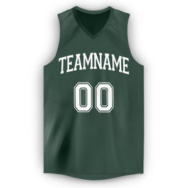 Custom Hunter Green White V-Neck Basketball Jersey