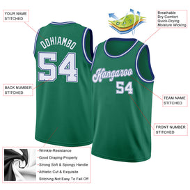Custom Kelly Green White-Royal Round Neck Rib-Knit Basketball Jersey