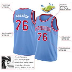 Custom Light Blue Red-White Round Neck Rib-Knit Basketball Jersey