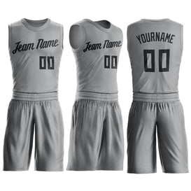Custom Silver Gray Black Round Neck Suit Basketball Jersey