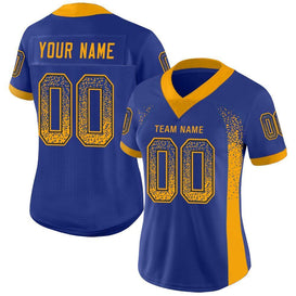 Custom Royal Gold-Navy Mesh Drift Fashion Football Jersey
