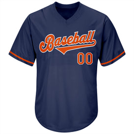 Custom Navy Orange-White Authentic Throwback Rib-Knit Baseball Jersey Shirt