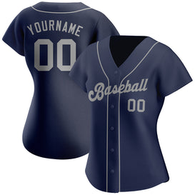 Custom Navy Gray Authentic Baseball Jersey