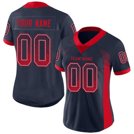Custom Navy Scarlet-Light Gray Mesh Drift Fashion Football Jersey