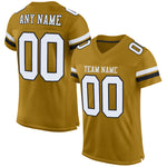 Custom Old Gold White-Black Mesh Authentic Football Jersey