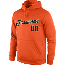 Custom Stitched Orange Black-Old Gold Sports Pullover Sweatshirt Hoodie