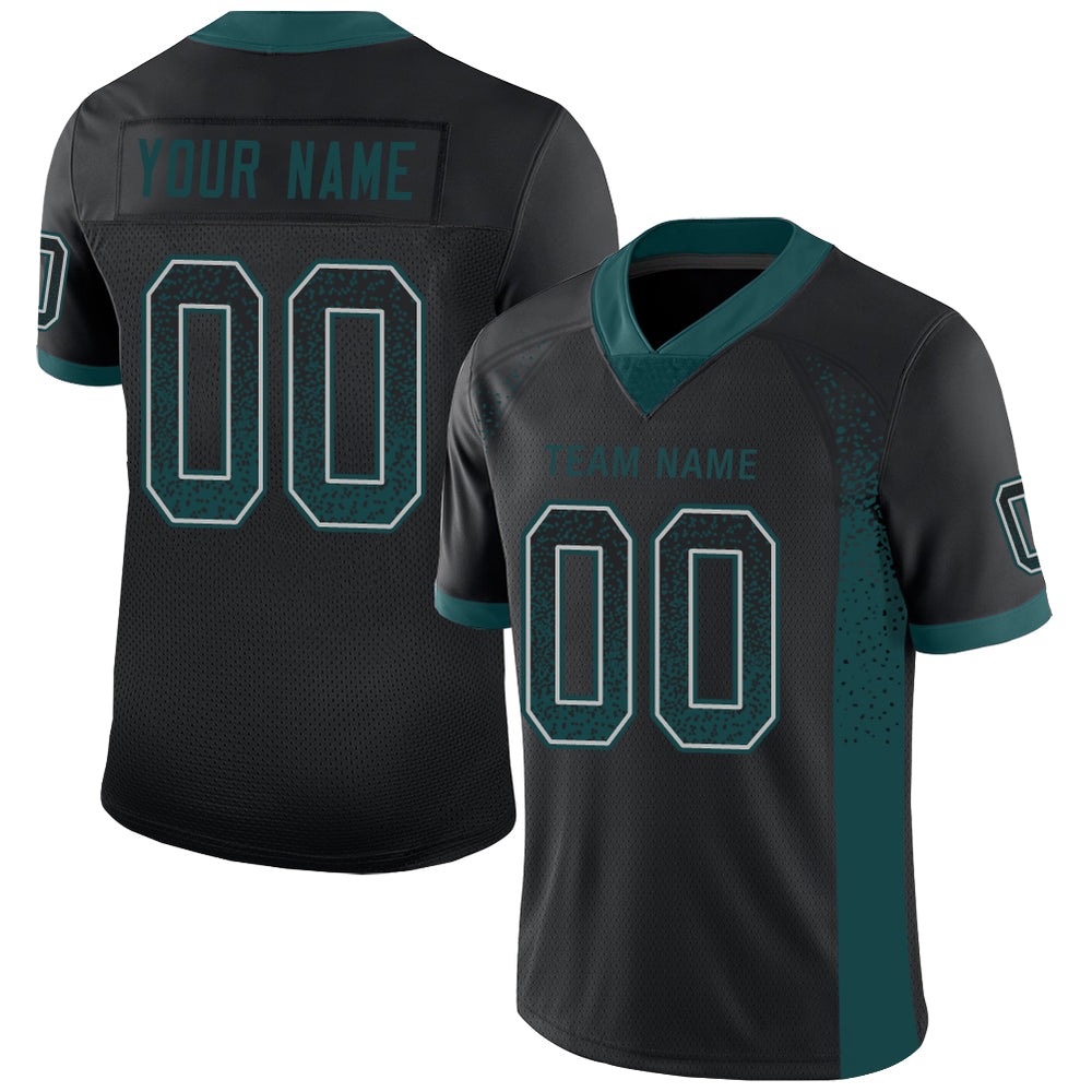 Custom Black Midnight Green-Gray Mesh Drift Fashion Football Jersey