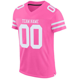 Custom Pink White Mesh Authentic Football Jersey