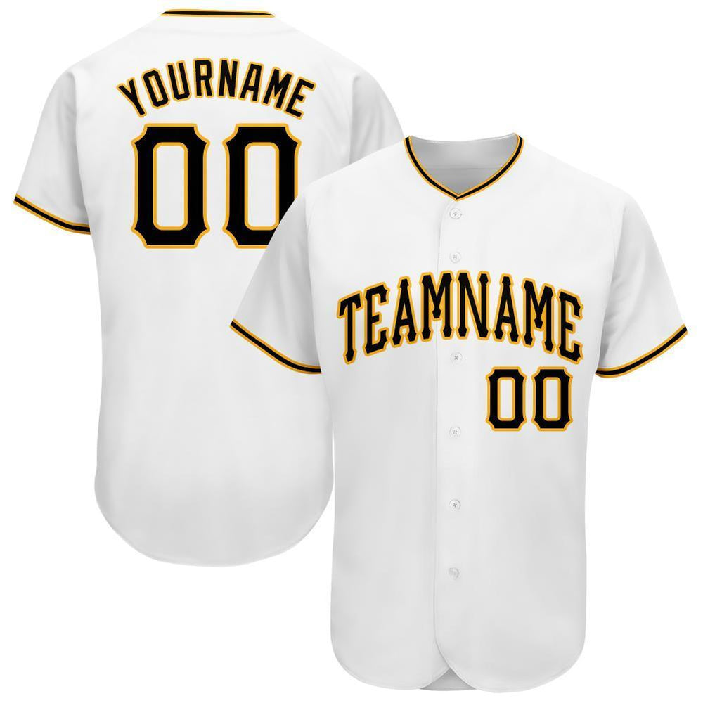 Custom White Black-Gold Baseball Jersey