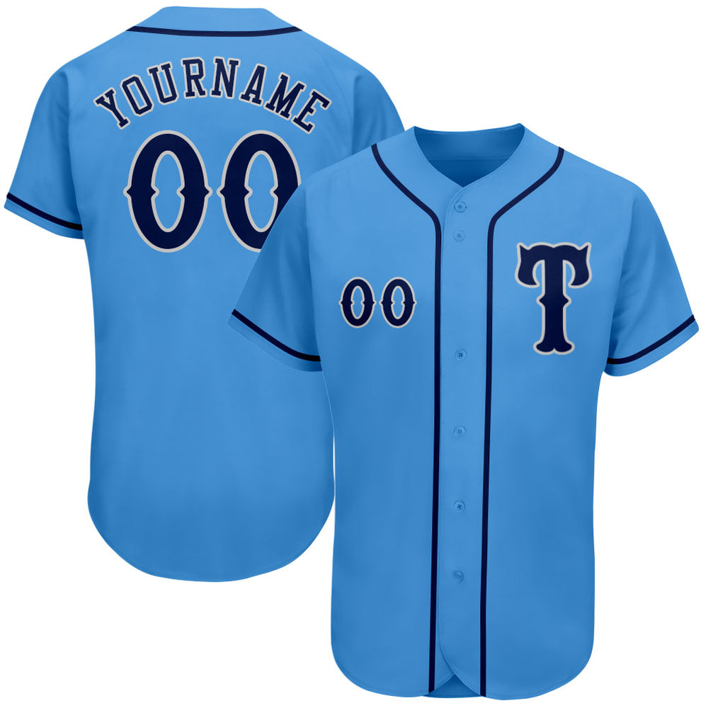 Custom Powder Blue Navy-Gray Authentic Baseball Jersey
