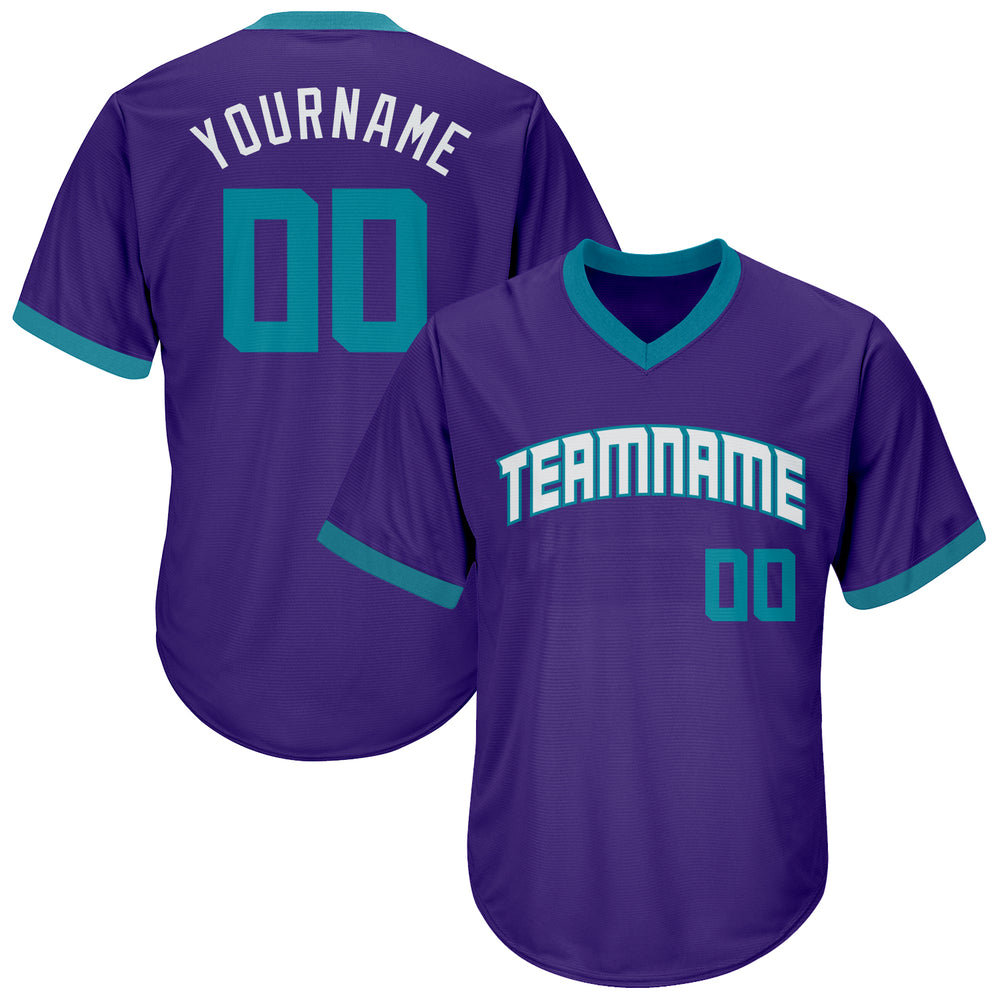 Custom Purple Teal-White Authentic Throwback Rib-Knit Baseball Jersey Shirt