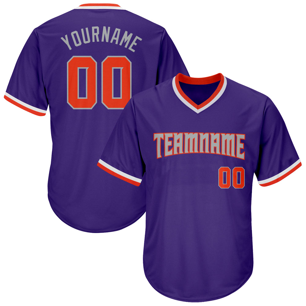 Custom Purple Orange-Gray Authentic Throwback Rib-Knit Baseball Jersey Shirt