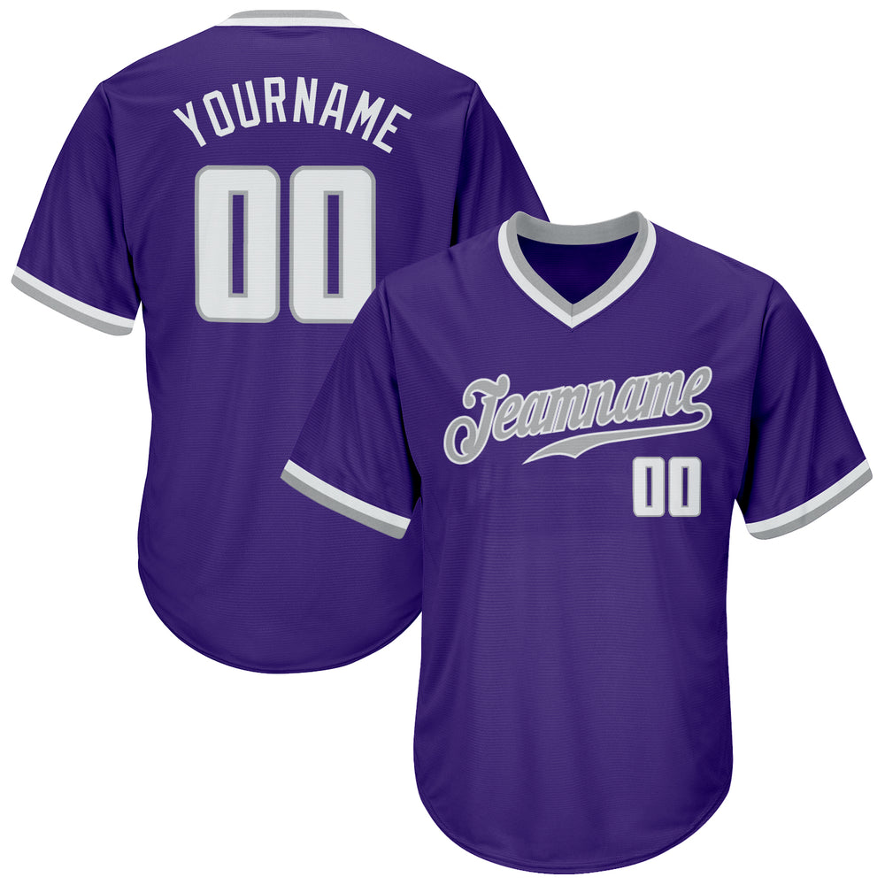 Custom Purple White-Gray Authentic Throwback Rib-Knit Baseball Jersey Shirt