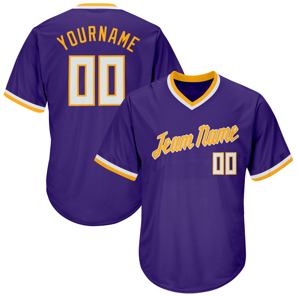 Custom Purple White-Gold Authentic Throwback Rib-Knit Baseball Jersey Shirt