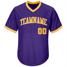 Custom Purple Gold-White Authentic Throwback Rib-Knit Baseball Jersey Shirt