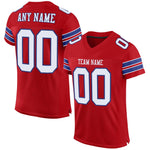 Custom Red White-Royal Mesh Authentic Football Jersey