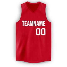 Custom Red White V-Neck Basketball Jersey