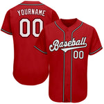 Custom Red White-Black Authentic Baseball Jersey