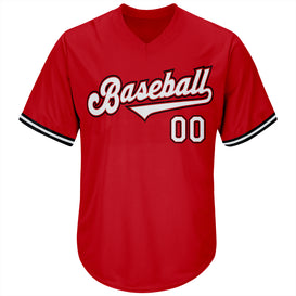 Custom Red White-Black Authentic Throwback Rib-Knit Baseball Jersey Shirt