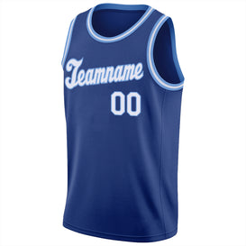 Custom Royal White-Light Blue Round Neck Rib-Knit Basketball Jersey
