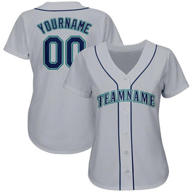 Custom Gray Navy-Aqua Baseball Jersey