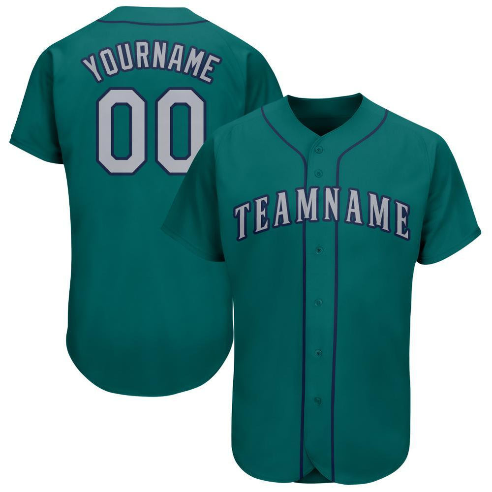Custom Aqua Gray-Navy Baseball Jersey