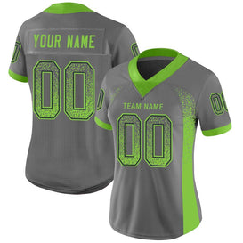 Custom Gray Neon Green-Navy Mesh Drift Fashion Football Jersey