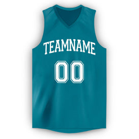 Custom Teal White V-Neck Basketball Jersey