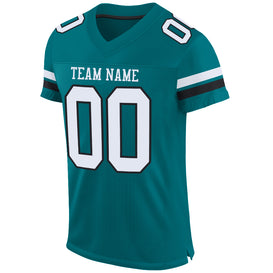 Custom Teal White-Black Mesh Authentic Football Jersey