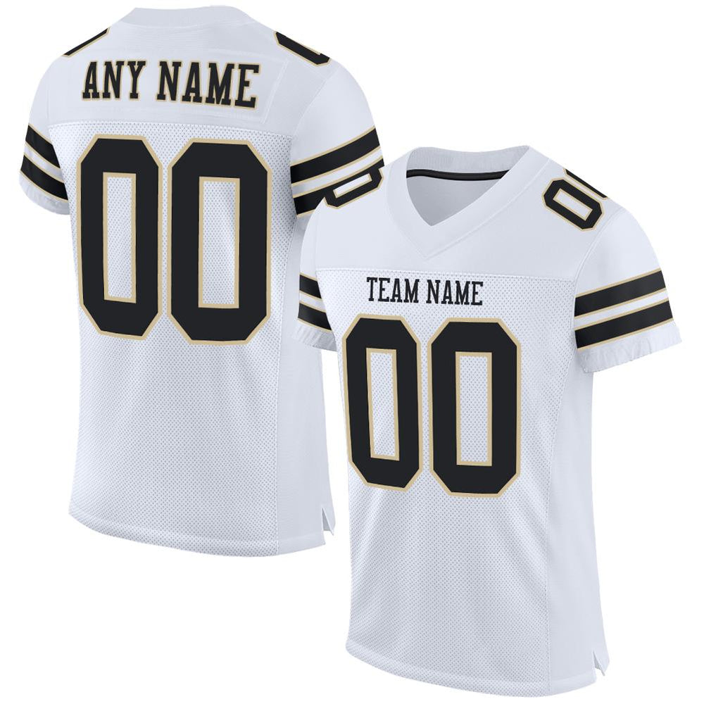Custom White Black-Vegas Gold Mesh Authentic Football Jersey