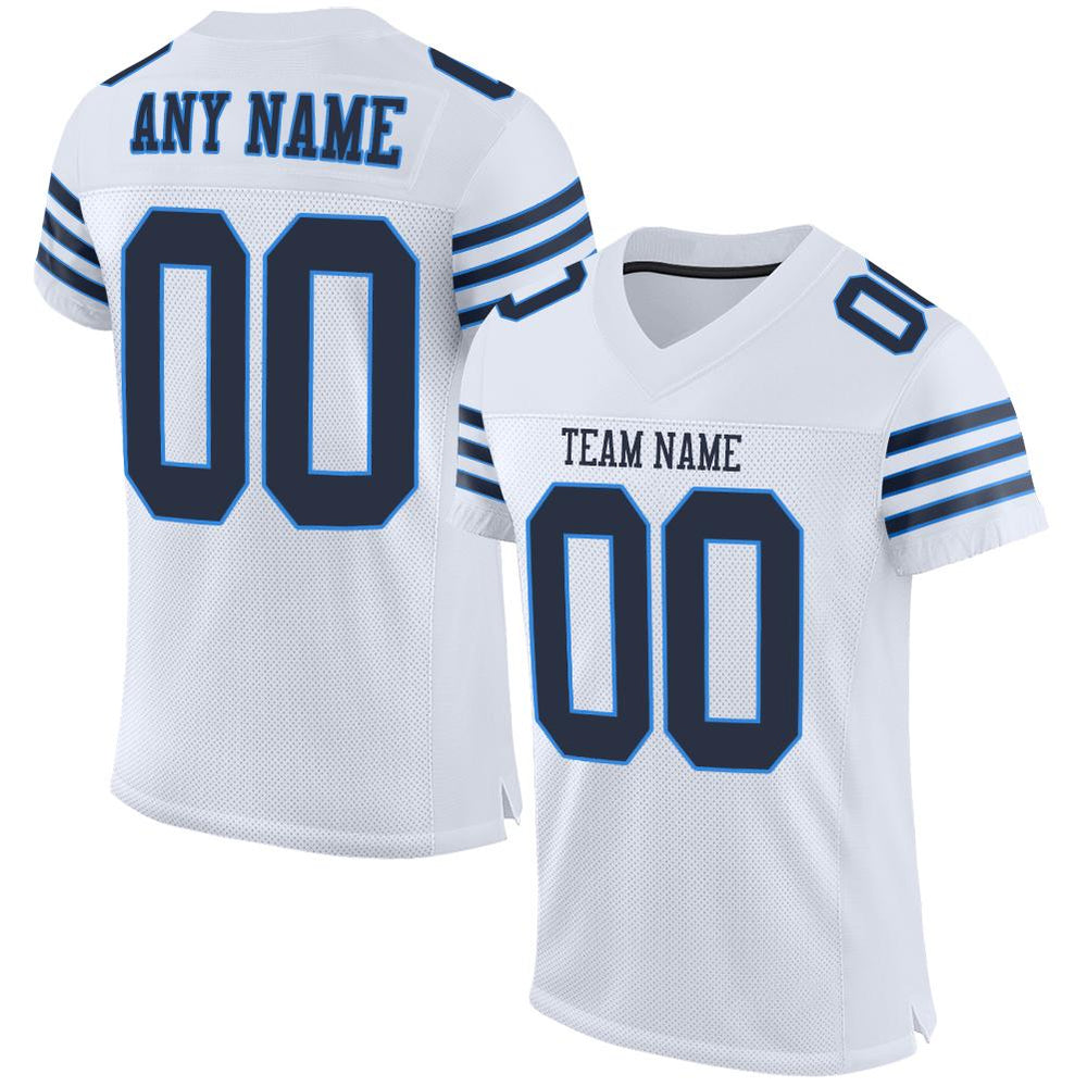 Custom White Navy-Powder Blue Mesh Authentic Football Jersey
