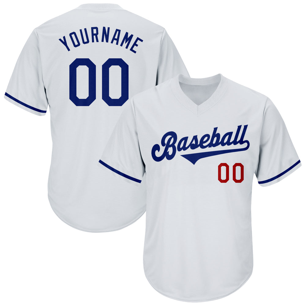 Custom White Royal-Red Authentic Throwback Rib-Knit Baseball Jersey Shirt