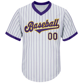 Custom White Purple Strip Purple-Gold Authentic Throwback Rib-Knit Baseball Jersey Shirt