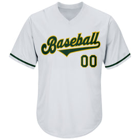 Custom White Green-Gold Authentic Throwback Rib-Knit Baseball Jersey Shirt